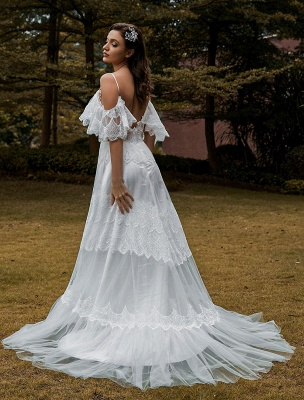 Boho Wedding Gowns Lace A-Line V-Neck Natural Waistline Beaded Wedding Gown_4