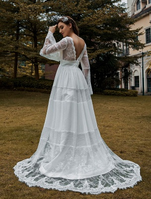 Wedding Gowns Boho Wedding Dress Long Sleeves Lace V-Neck Lace Chiffon Wedding Gowns Exclusive_3