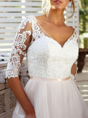 Wedding Gowns A Line V Neck Half Sleeves Lace Tulle Bridal Gowns With Train_3