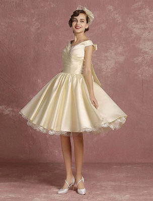 Short Wedding Gownses Satin Vintage Princess Wedding Dresses Knee Length Sleeveless Lace Edge Pleated Bridal Gown With Ribbon Bow Exclusive_2