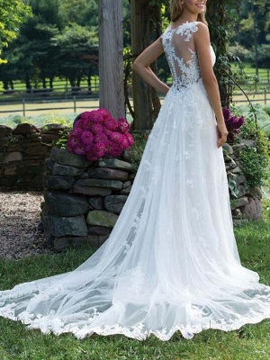 Wedding Dress Lace V Neck Sleeveless Sheath Floor Length Bridal Gown With Court Train_2