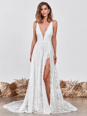 Wedding Dress Ivory V-Neck Backless Sleevelesslace Wedding Gowns With Train_2