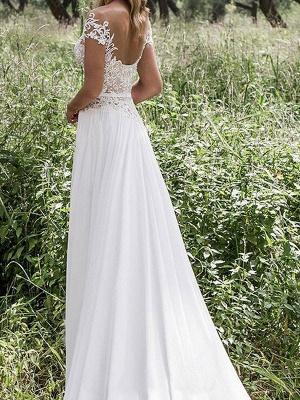 Boho Wedding Dresses 2021 Chiffon Deep V Neck Short Sleeve Lace Appliqued Split Front Beach Bridal Gowns_2