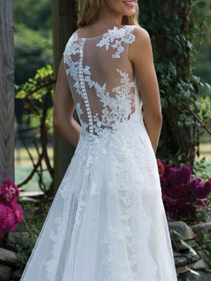 Wedding Dress Lace V Neck Sleeveless Sheath Floor Length Bridal Gown With Court Train_4