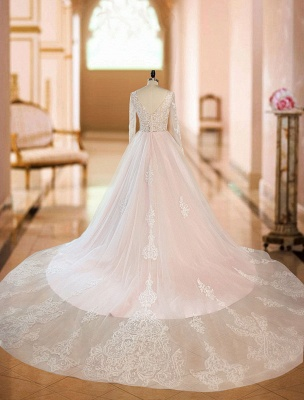 A Line Wedding Dresses V Neck Long Sleeve Lace Applique Tulle Bridal Gowns With Chapel Train_4