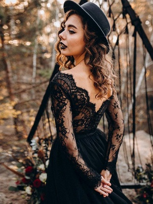 Black Bridal Dresses A-Line Designed Neckline Long Sleeves Natural Waistline Tulle Lace Sweep Bridal Gown_6