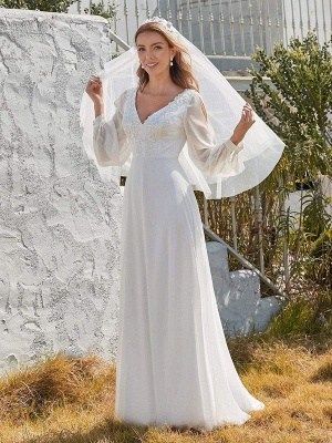 White Cheap Wedding Dress A-Line V-Neck Long Sleeves Natural Waist Chiffon Long Bridal Dresses_2