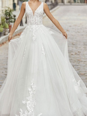 Ivory Vintage Wedding Dress A Line V Neck Sleeveless Applique With Long Train Bridal Gowns_1