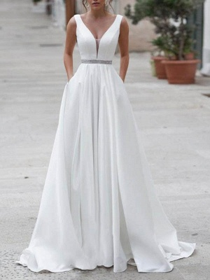 Vintage Wedding Dress A Line V Neck Sleeveless Sash Floor Length Bridal Gowns With Train_1