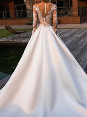 Wedding Dresses Princess Silhouette Jewel Neck Long Sleeves Natural Waist Lace Satin Fabric Bridal Gowns_2