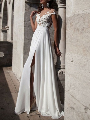 Boho Wedding Dresses 2021 A Line V Neck Sleeveless Split Lace Appliqued Beach Bridal Gowns With Sweep Train_3