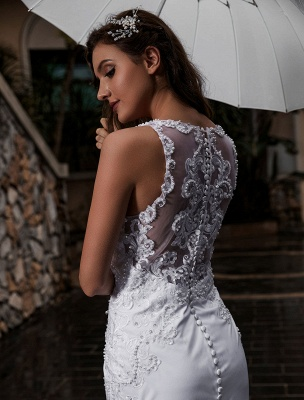 Customize Wedding Gowns With Train Sleeveless Beaded Square Neck Bridal Gowns_6