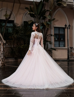 Customize Wedding Gowns With Train A-Line Long Sleeves Satin Fabric Jewel Neck Bridal Gowns_3