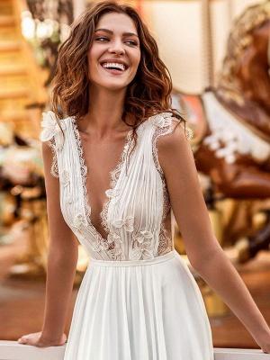 White Cheap Wedding Dresses A-Line Court Train V-Neck Natural Waistline Sleeveless Chiffon Lace Bridal Gowns_4