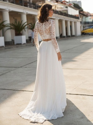 White Cheap Wedding Dress Chiffon V-Neck Long Sleeves Cut Out A-Line Split Lace Wedding Gowns_2