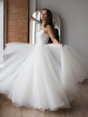 White Wedding Dress Designed Neckline Sleeveless Backless Zipper Tiered With Train Tulle Long Wedding Gowns_2