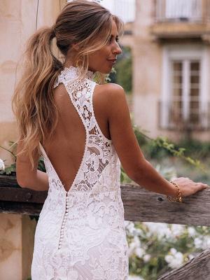 Boho Wedding Gowns 2021 Sheath High Neck Sleeveless Floor Length Bridal Gown_5