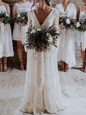 Boho Bridal Dresses 2021 A Line Deep V Neck Multilayer Lace Chiffon Beach Party Dress Wedding Gowns_1