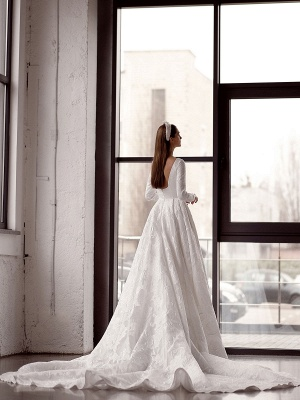 White Simple Wedding Gowns With Train A-Line Jewel Neck Long Backless Sleeves Satin Fabric Bridal Gowns_4