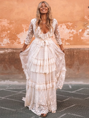 Boho Wedding Dresses Suit 2021 V Neck Floor Length Lace Multilayer Bridal Gown Dress And Outfit_3