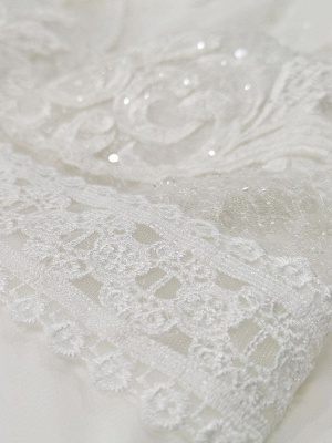 Ivory Simple Wedding Dress With Train A Line V Neck Long Sleeves Lace Bridal Gowns_8