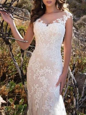 Wedding Dresses 2021 V Neck Mermaid Sleeveless Lace Embellishment Classic Bridal Gowns With Train_3