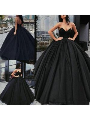 Black Wedding Gownses Satin Fabric Princess Silhouette Empire Waist Floor Length Wedding Dresses_1