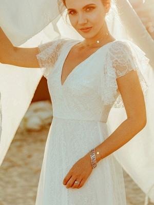 Cheap Wedding Dresses 2021 A Lne V Neck Short Sleeve Floor Length Tulle Beach Wedding Party Dresses Bridal Gowns_2