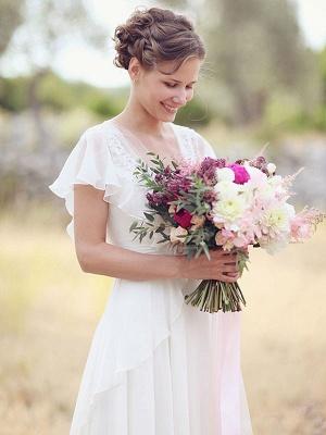 Cheap Wedding Dress A Line Designed Neckline Sleeveless Applique Chiffon Wedding Gowns_2