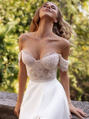 White Cheap Wedding Dresses Satin Fabric Strapless Sleeveless Cut Out A-Line Off The Shoulder Long Bridal Gowns_7