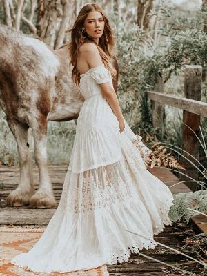 Boho Wedding Dress 2021 Lace Off The Shoulder A Line Floor Length Lace Bridal Gown_5