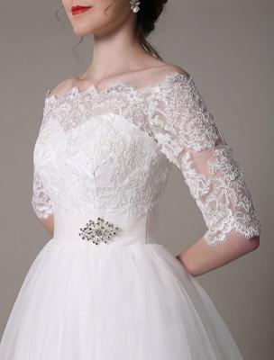 Lace Bridal Dresses 2021 Short Off The Shoulder A Line Knee Length Waist Rhinestone Bridal Dress Exclusive_9