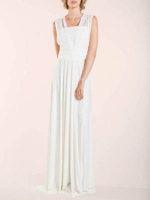 Simple Wedding Gowns Sheath V Neck Sleeveless Pleated Floor Length With Train Lace Wedding Dresseses_4