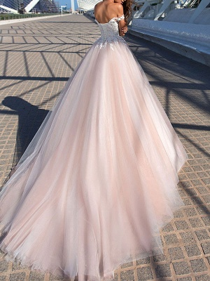 Wedding Dresses Princess Silhouette Court Train Off The Shoulder Sleeveless Natural Waist Lace Tulle Bridal Gowns_2
