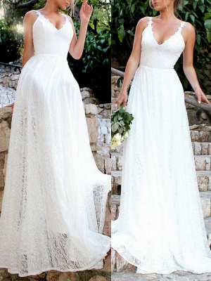Simple Wedding Gownses 2021 A Line V Neck Straps Backless Floor Length Classic Bridal Gowns_2