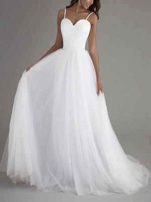 Vintage Wedding Dress Tulle Sweetheart Neck Sleeveless Sash A Line Bridal Gowns_1