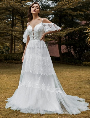 Boho Wedding Gowns Lace A-Line V-Neck Natural Waistline Beaded Wedding Gown_3