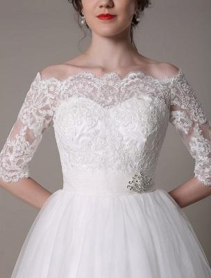 Lace Bridal Dresses 2021 Short Off The Shoulder A Line Knee Length Waist Rhinestone Bridal Dress Exclusive_8