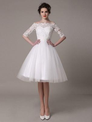 Lace Bridal Dresses 2021 Short Off The Shoulder A Line Knee Length Waist Rhinestone Bridal Dress Exclusive_2