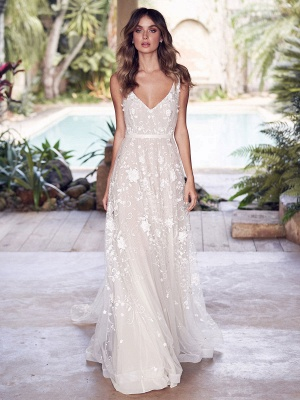 Wedding Dresses With Train A Line Sleeveless Lace V Neck Bridal Gowns_1