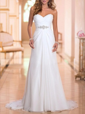 Cheap Wedding Dress Sheath Sweetheart Neck Sleeveless Pleated Bridal Dresses With Train_2