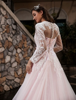 Customize Wedding Gowns With Train A-Line Long Sleeves Satin Fabric Jewel Neck Bridal Gowns_5