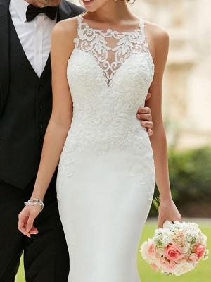 Wedding Dress 2021 Cheap Mermaid Bateau Neck Sleeveless Lace Appliqued Traditional Bridal Dresses_3