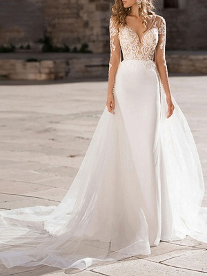 Wedding Dress V Neck Long Sleeve Sheath Floor Length Lace Beaded Bridal Gowns With Tulle Court Train_1