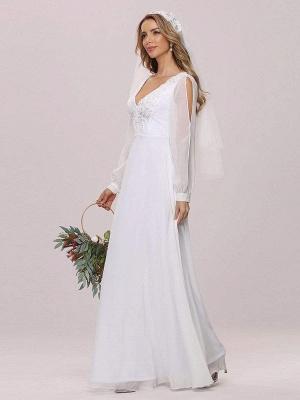 White Cheap Wedding Dress A-Line V-Neck Long Sleeves Natural Waist Chiffon Long Bridal Dresses_5
