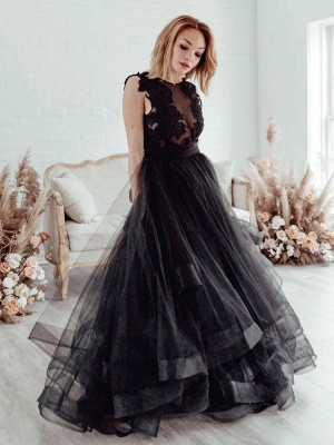 Black Bridal Dress A-Line Illusion Neckline Sleeveless Backless Applique Floor-Length Lace Tulle Bridal Gowns_2