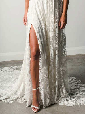 Beach Wedding Dress With Chapel Train White V-Neck Sleeveless Backless Lace Split Long Bridal Gowns_7