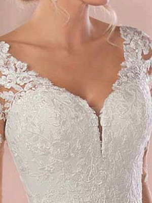 Lace Wedding Dresses 2021 Chiffon V Neck A Line Long Sleeve Lace Applique Beach Wedding Bridal Dress With Train Free Customization_5