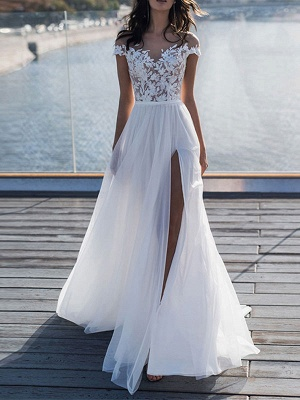 Boho Wedding Dresses 2021 With Lace Chiffon Bridal Gowns_1