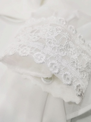 Ivory Simple Wedding Dress With Train A Line V Neck Long Sleeves Lace Bridal Gowns_7